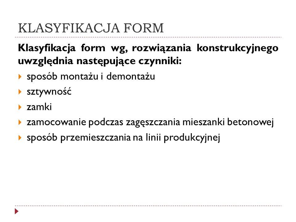 KLASYFIKACJA FORM Klasyfikacja form wg, rozwiązania konstrukcyjnego uwzględnia następujące czynniki: