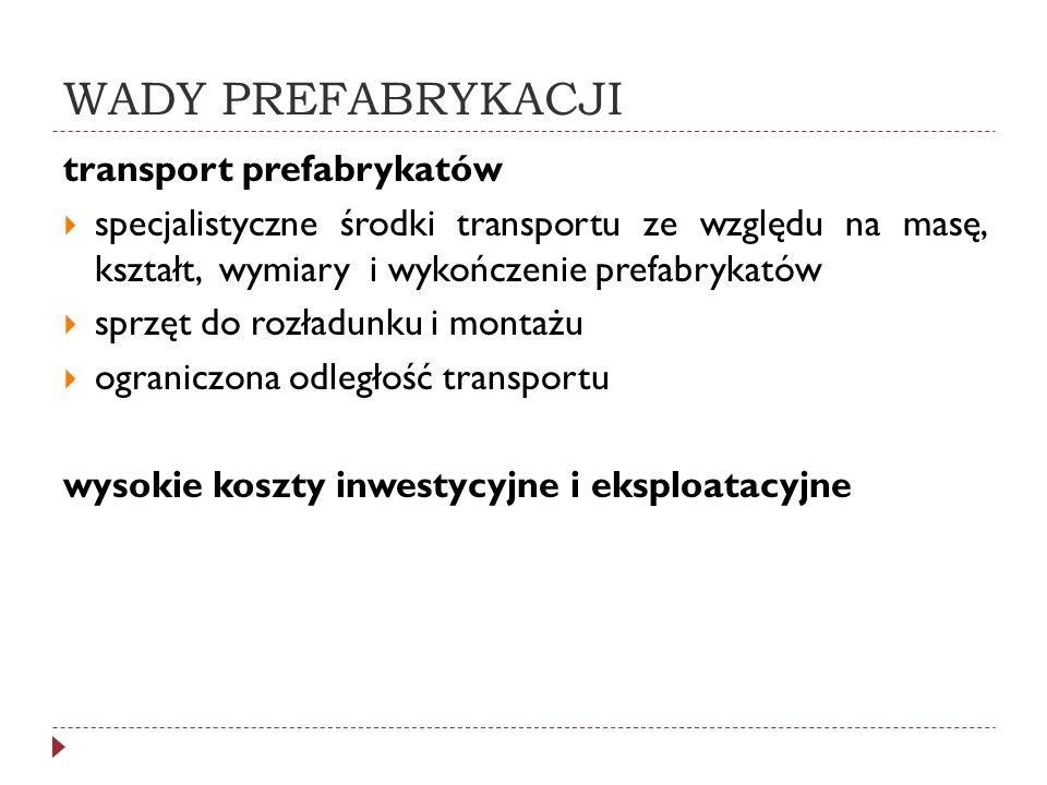 WADY PREFABRYKACJI transport prefabrykatów
