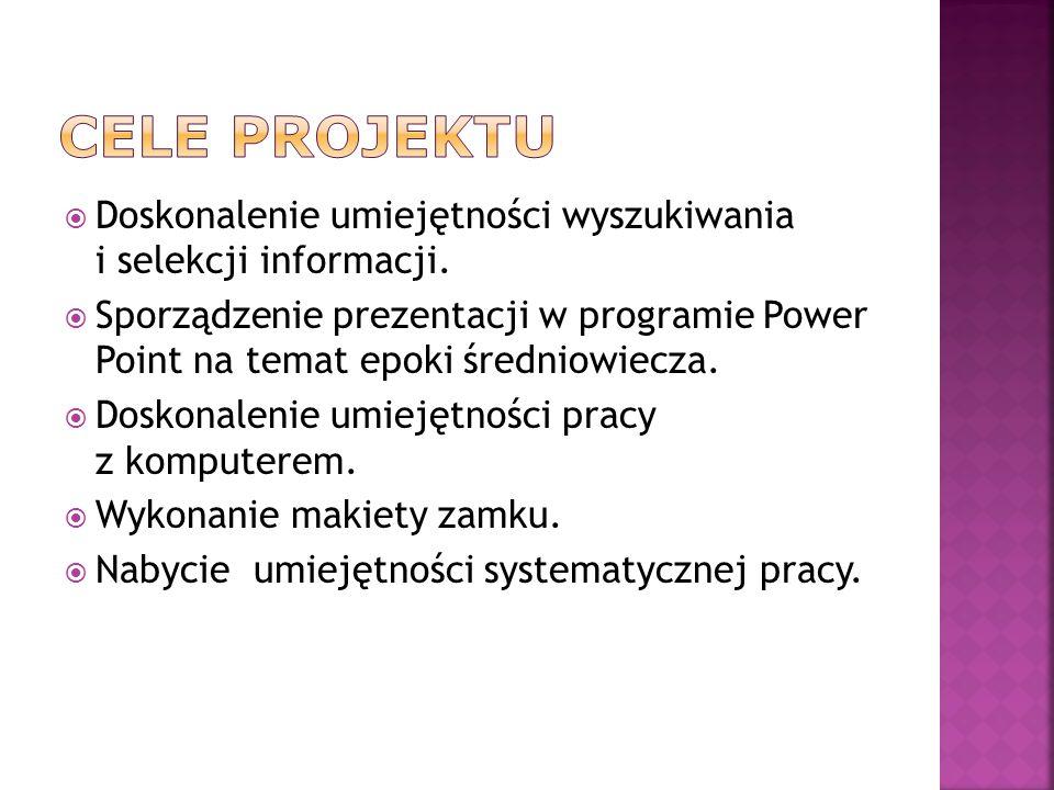 Cele projektu Doskonalenie umiejętności wyszukiwania i selekcji informacji.
