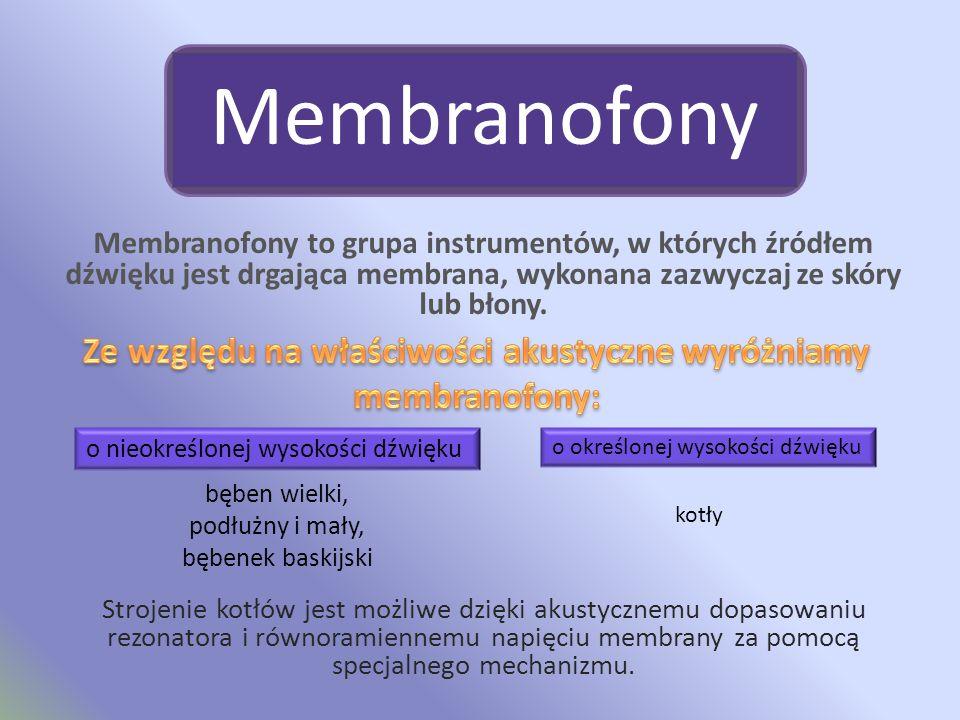 Ze względu na właściwości akustyczne wyróżniamy membranofony: