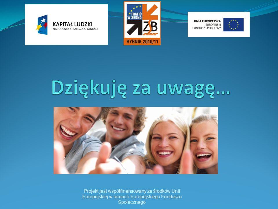Dziękuję za uwagę… Projekt jest współfinansowany ze środków Unii Europejskiej w ramach Europejskiego Funduszu Społecznego.