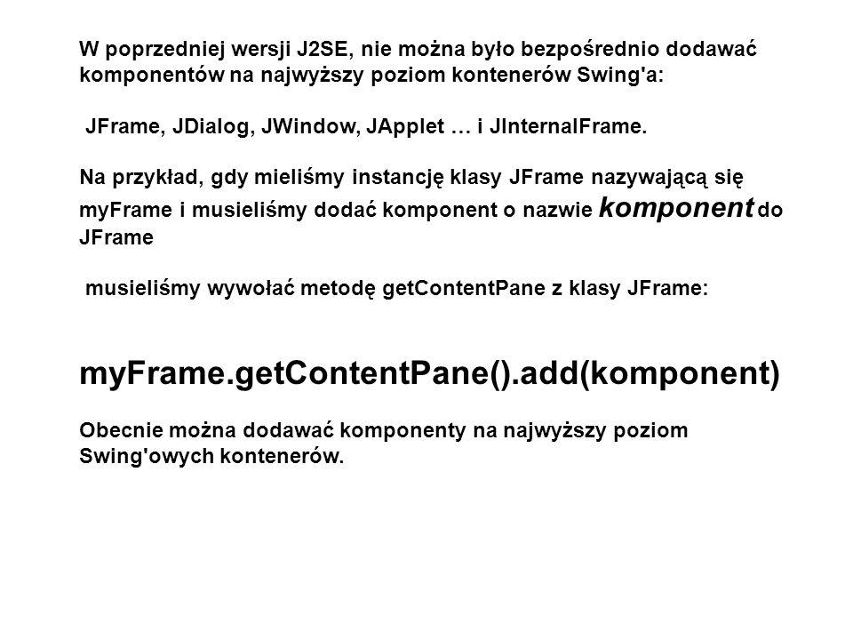 myFrame.getContentPane().add(komponent)