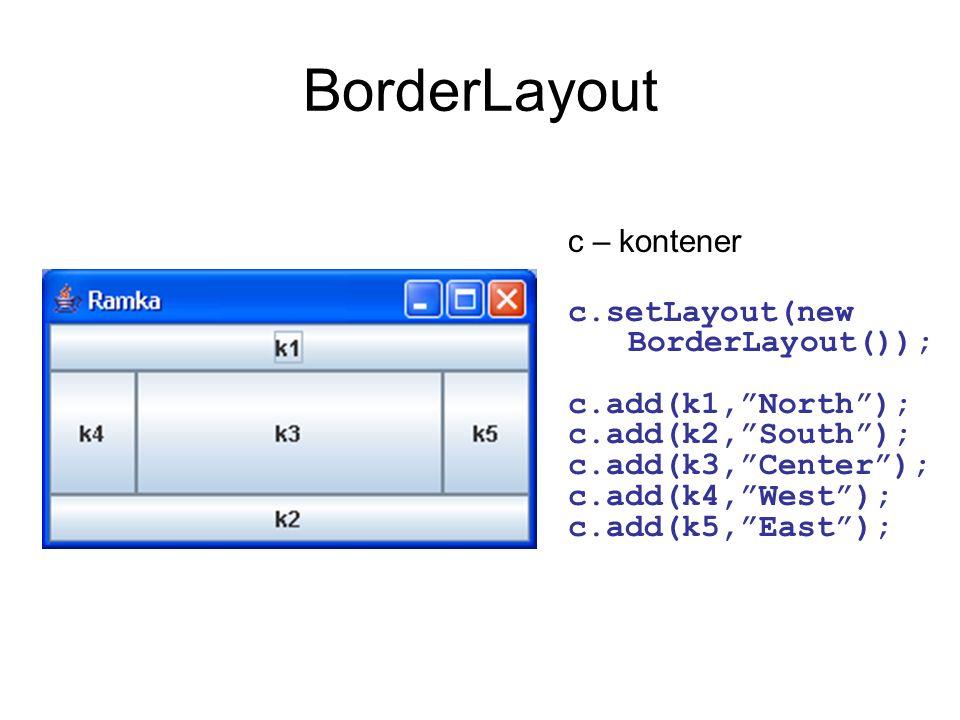 BorderLayout c – kontener