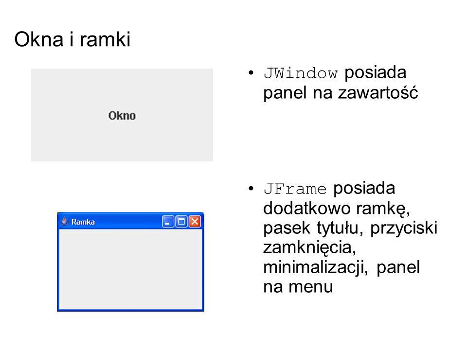 Okna i ramki JWindow posiada panel na zawartość