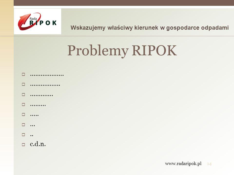 Problemy RIPOK ………………. …………….. …………. ……… ….. … .. c.d.n.