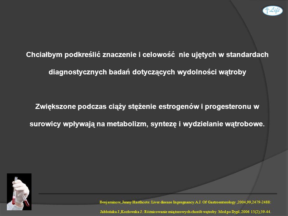 Chciałbym podkreślić znaczenie i celowość nie ujętych w standardach diagnostycznych badań dotyczących wydolności wątroby