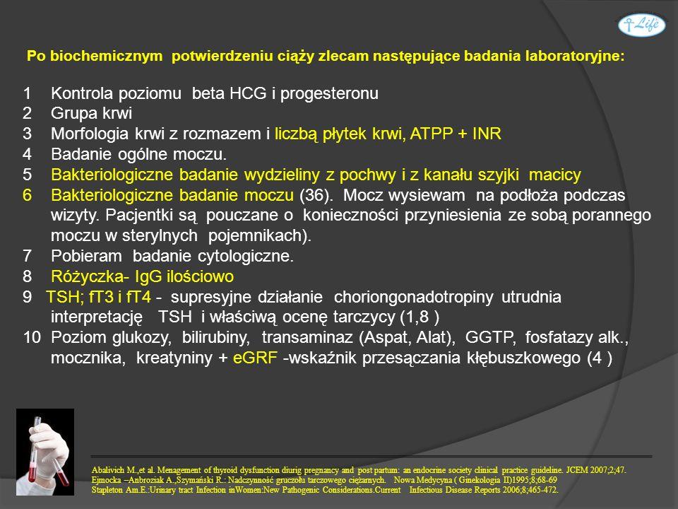 1 Kontrola poziomu beta HCG i progesteronu 2 Grupa krwi