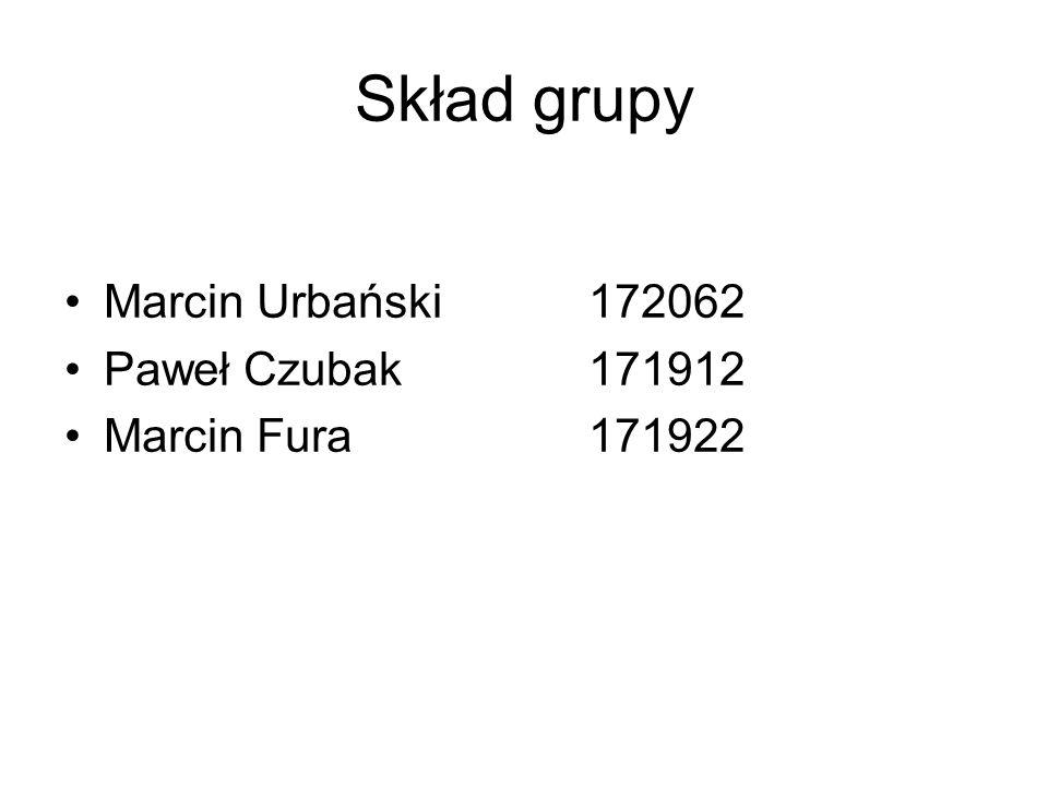 Skład grupy Marcin Urbański 172062 Paweł Czubak 171912