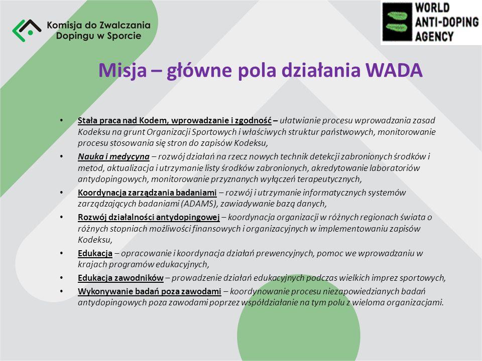 Misja – główne pola działania WADA