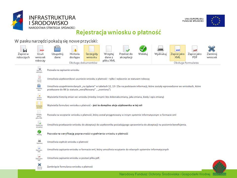 Rejestracja wniosku o płatność