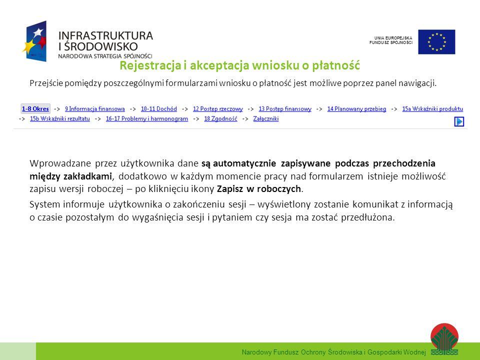Rejestracja i akceptacja wniosku o płatność