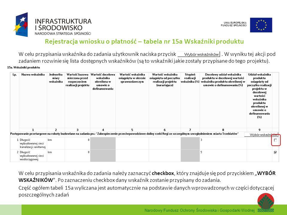 Rejestracja wniosku o płatność – tabela nr 15a Wskaźniki produktu