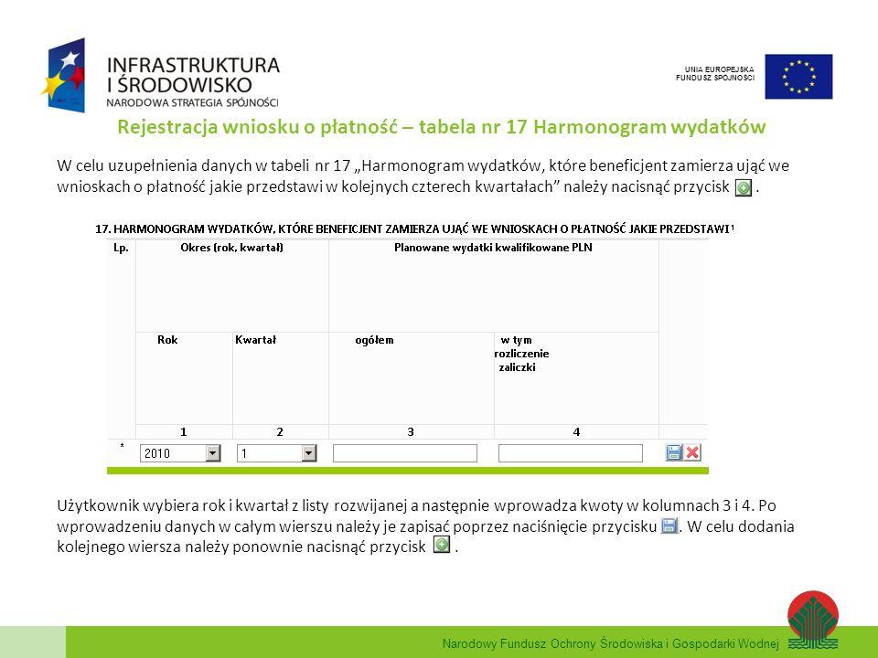 Rejestracja wniosku o płatność – tabela nr 17 Harmonogram wydatków