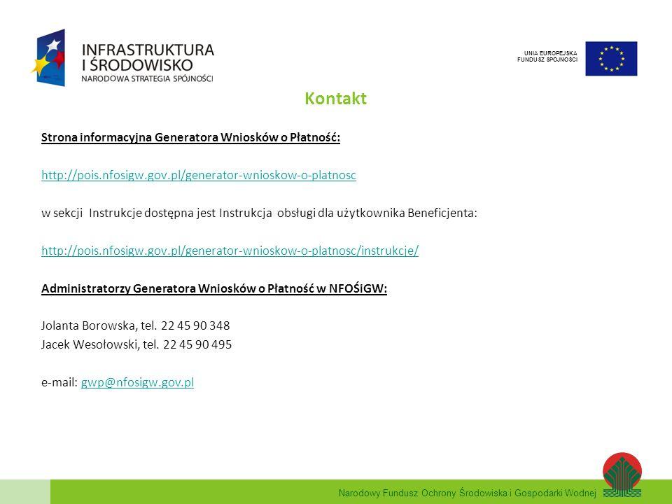 Kontakt Strona informacyjna Generatora Wniosków o Płatność:
