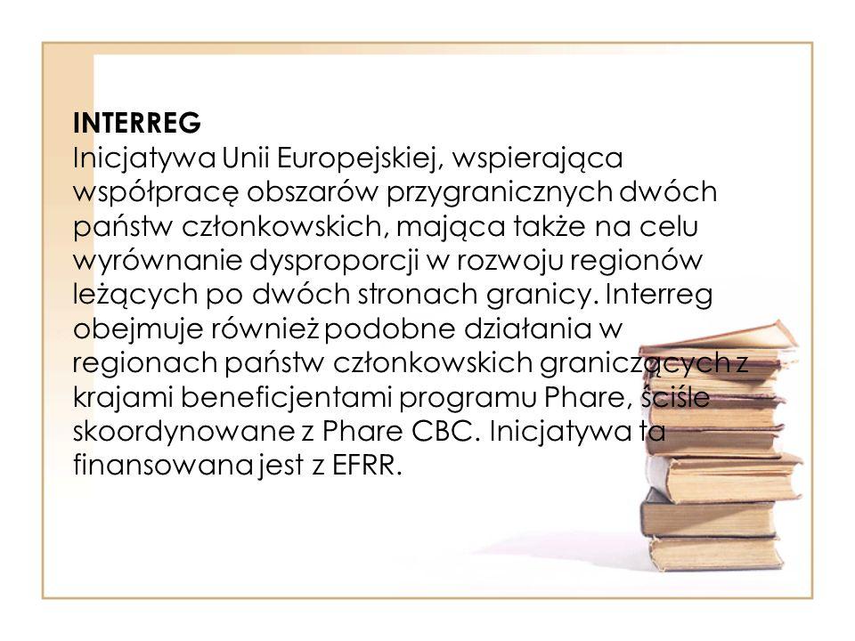 INTERREG Inicjatywa Unii Europejskiej, wspierająca współpracę obszarów przygranicznych dwóch państw członkowskich, mająca także na celu wyrównanie dysproporcji w rozwoju regionów leżących po dwóch stronach granicy.
