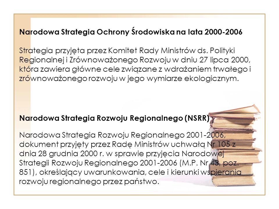 Narodowa Strategia Ochrony Środowiska na lata 2000-2006 Strategia przyjęta przez Komitet Rady Ministrów ds. Polityki Regionalnej i Zrównoważonego Rozwoju w dniu 27 lipca 2000, która zawiera główne cele związane z wdrażaniem trwałego i zrównoważonego rozwoju w jego wymiarze ekologicznym.
