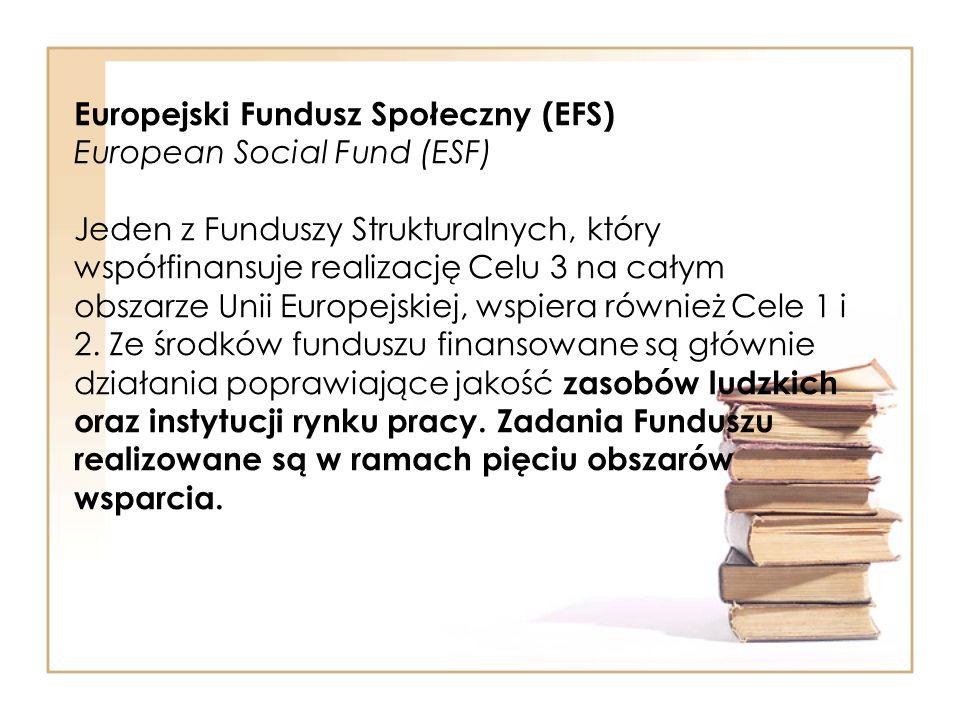 Europejski Fundusz Społeczny (EFS) European Social Fund (ESF) Jeden z Funduszy Strukturalnych, który współfinansuje realizację Celu 3 na całym obszarze Unii Europejskiej, wspiera również Cele 1 i 2.