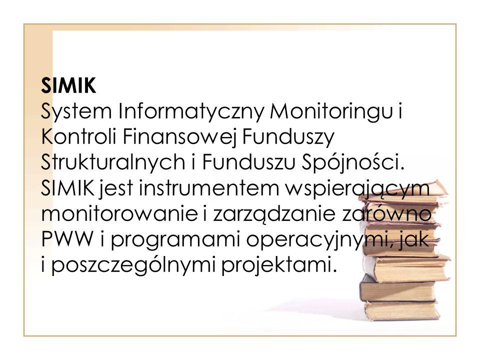 SIMIK System Informatyczny Monitoringu i Kontroli Finansowej Funduszy Strukturalnych i Funduszu Spójności.