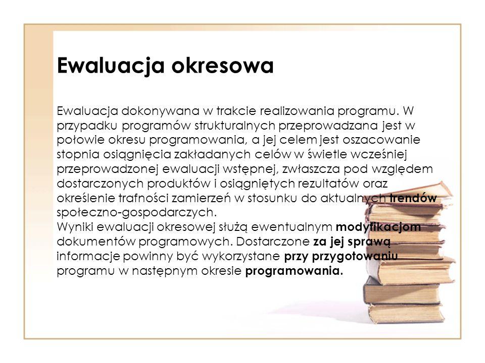 Ewaluacja okresowa Ewaluacja dokonywana w trakcie realizowania programu.