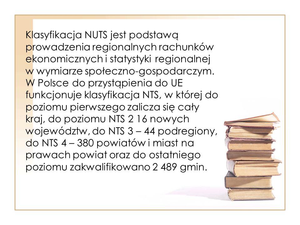 Klasyfikacja NUTS jest podstawą prowadzenia regionalnych rachunków ekonomicznych i statystyki regionalnej w wymiarze społeczno-gospodarczym.