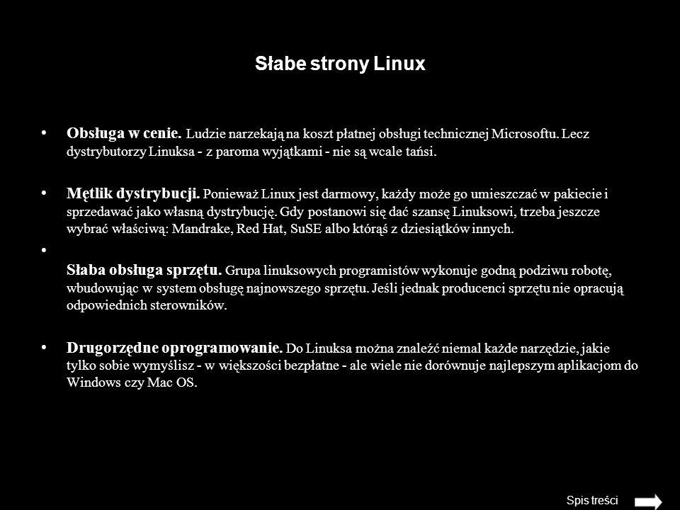 Słabe strony Linux