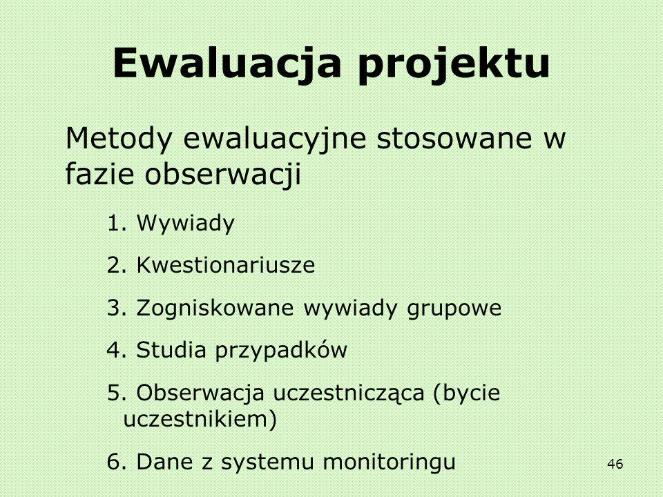 Ewaluacja projektu Metody ewaluacyjne stosowane w fazie obserwacji