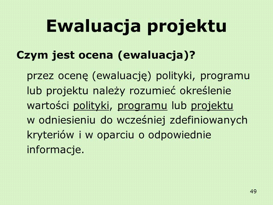 Ewaluacja projektu Czym jest ocena (ewaluacja)