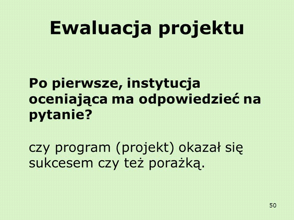 Ewaluacja projektu Po pierwsze, instytucja oceniająca ma odpowiedzieć na pytanie.
