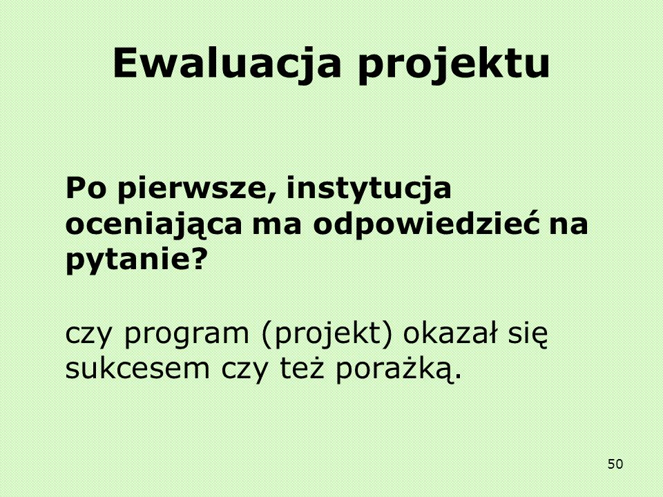 Ewaluacja projektuPo pierwsze, instytucja oceniająca ma odpowiedzieć na pytanie.