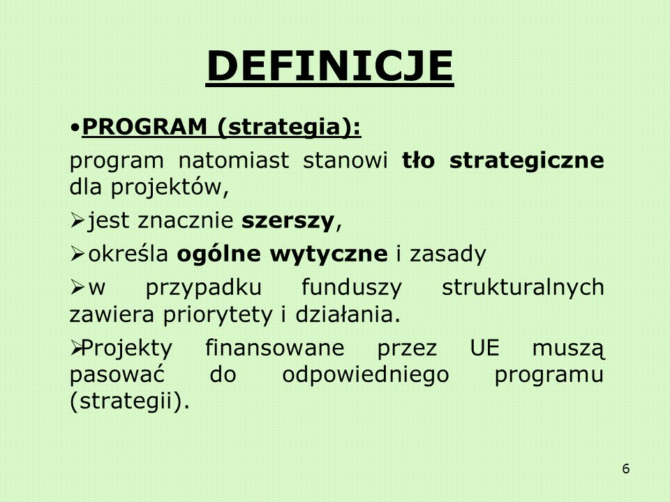 DEFINICJE PROGRAM (strategia):