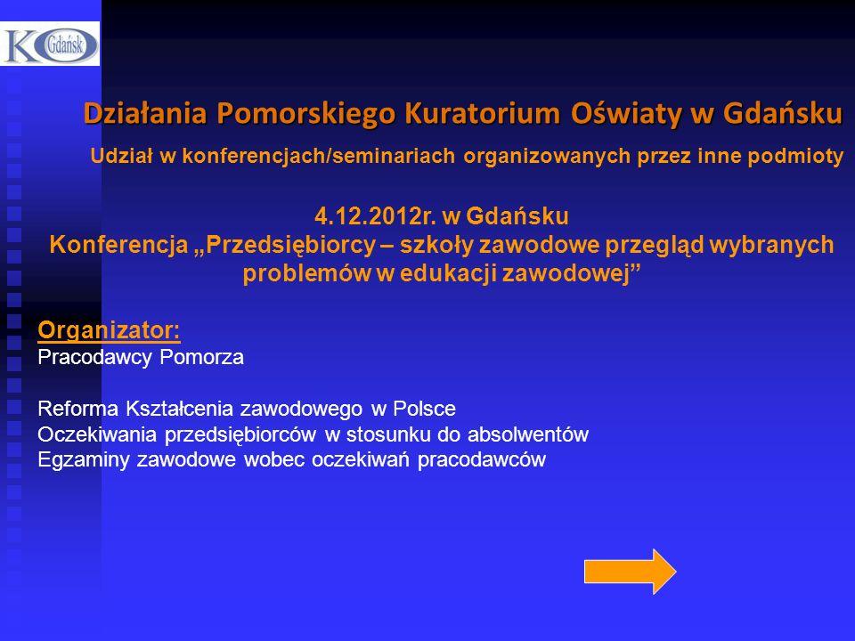 Działania Pomorskiego Kuratorium Oświaty w Gdańsku Udział w konferencjach/seminariach organizowanych przez inne podmioty