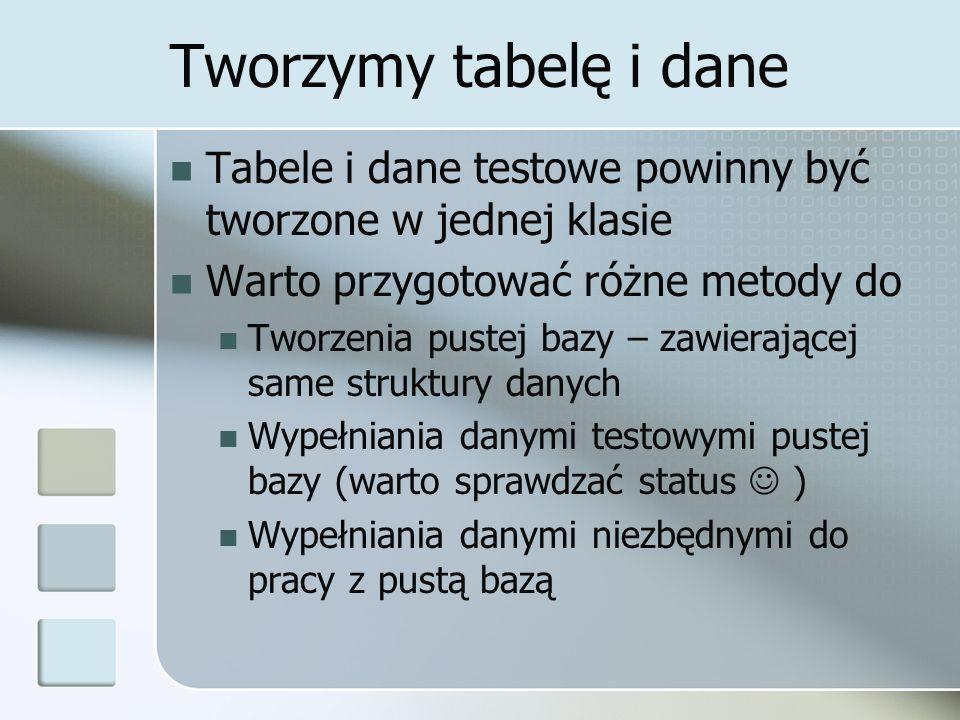 Tworzymy tabelę i dane Tabele i dane testowe powinny być tworzone w jednej klasie. Warto przygotować różne metody do.