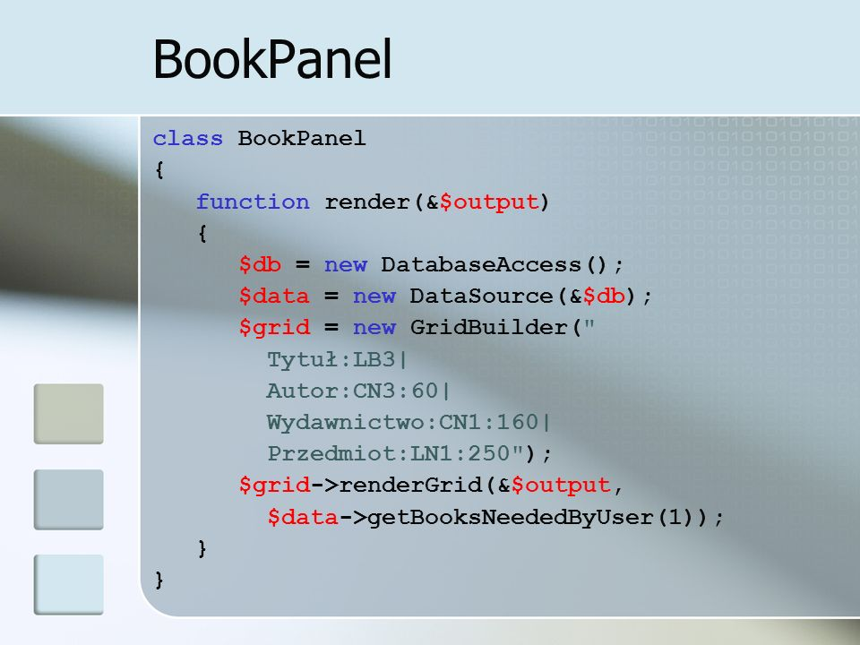 BookPanel class BookPanel { function render(&$output)