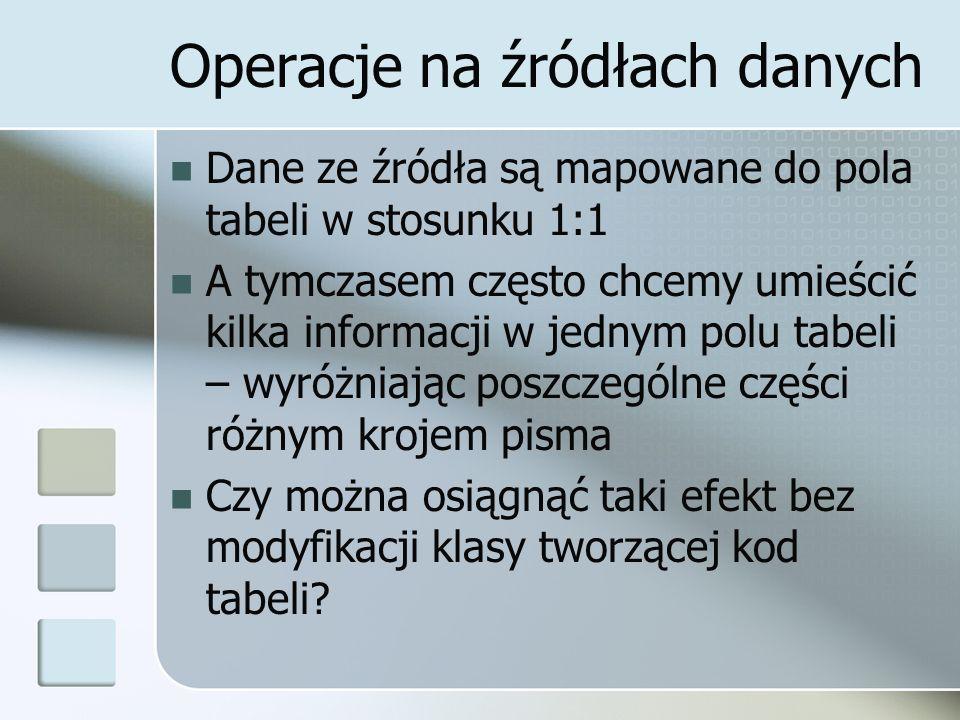 Operacje na źródłach danych