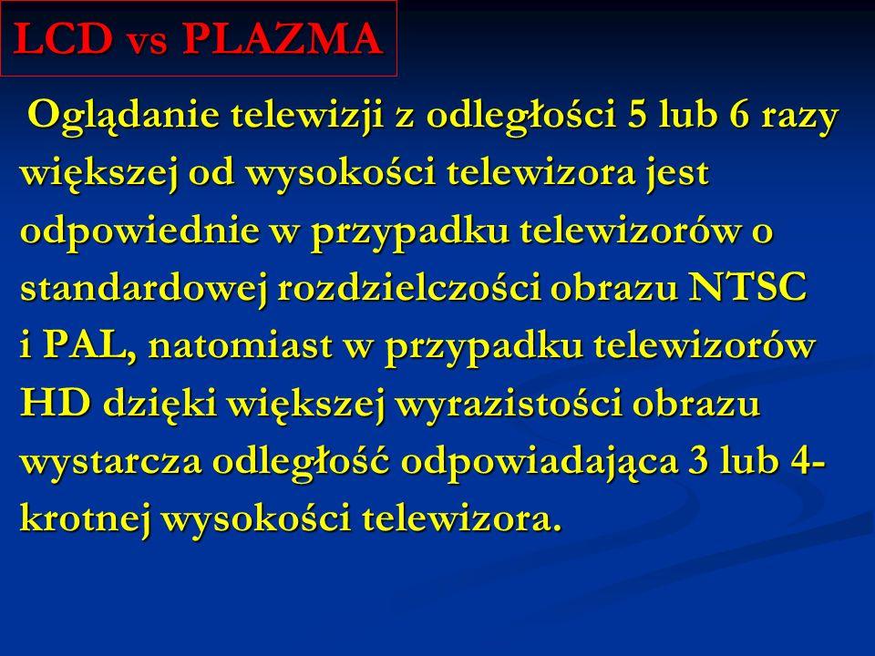 LCD vs PLAZMA większej od wysokości telewizora jest