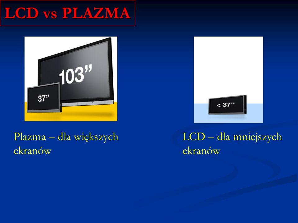 LCD vs PLAZMA Plazma – dla większych ekranów