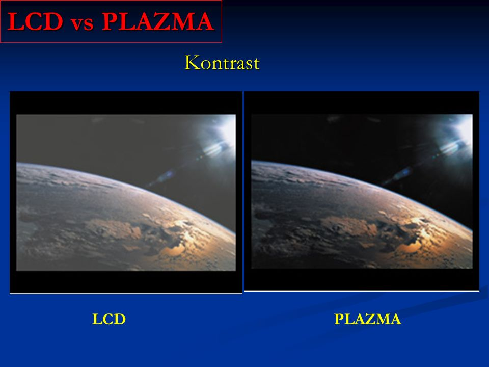 LCD vs PLAZMA Kontrast LCD PLAZMA