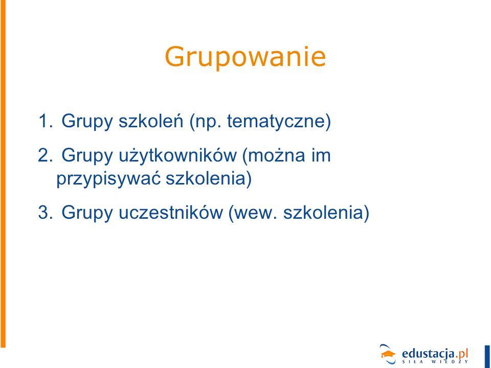 Grupowanie Grupy szkoleń (np. tematyczne)