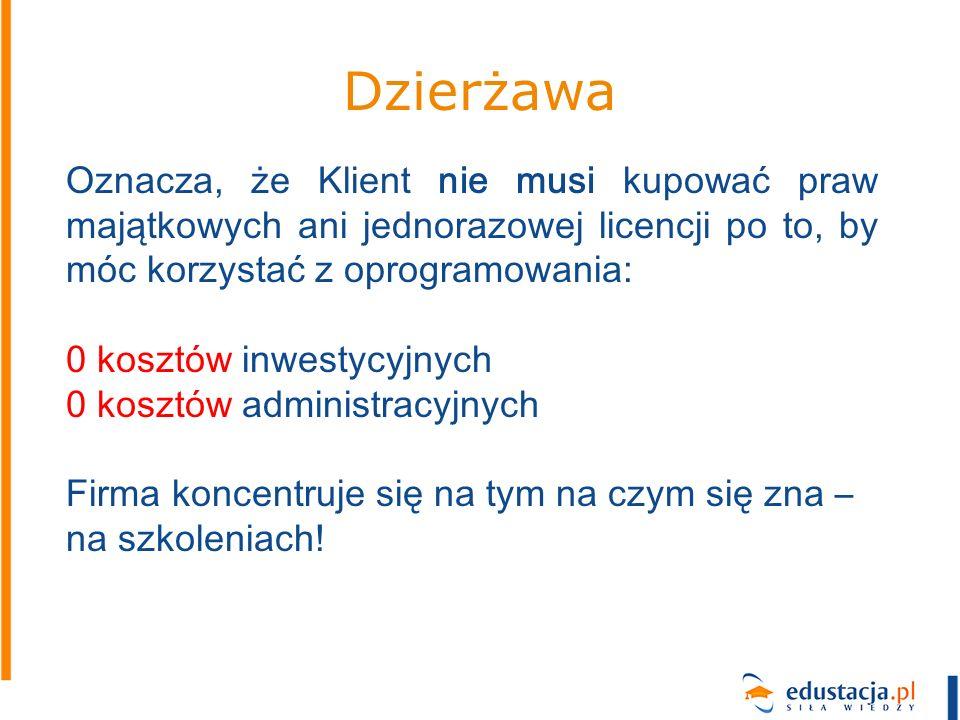 Dzierżawa Oznacza, że Klient nie musi kupować praw majątkowych ani jednorazowej licencji po to, by móc korzystać z oprogramowania: