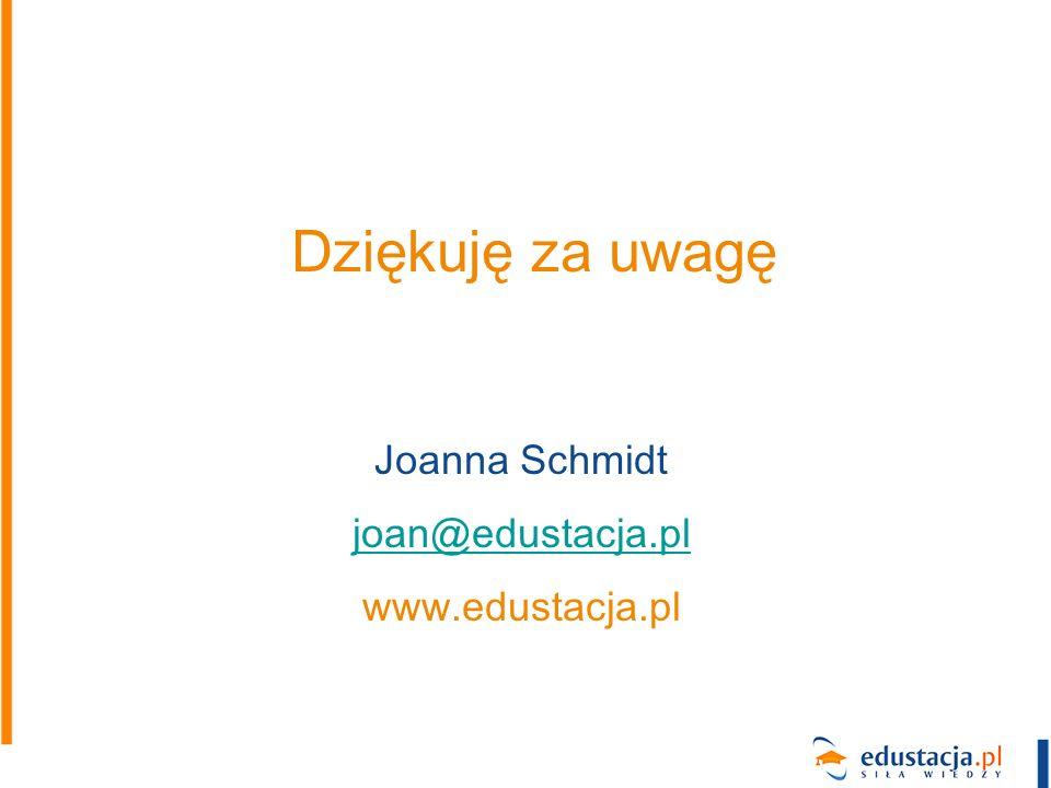 Dziękuję za uwagę Joanna Schmidt joan@edustacja.pl www.edustacja.pl