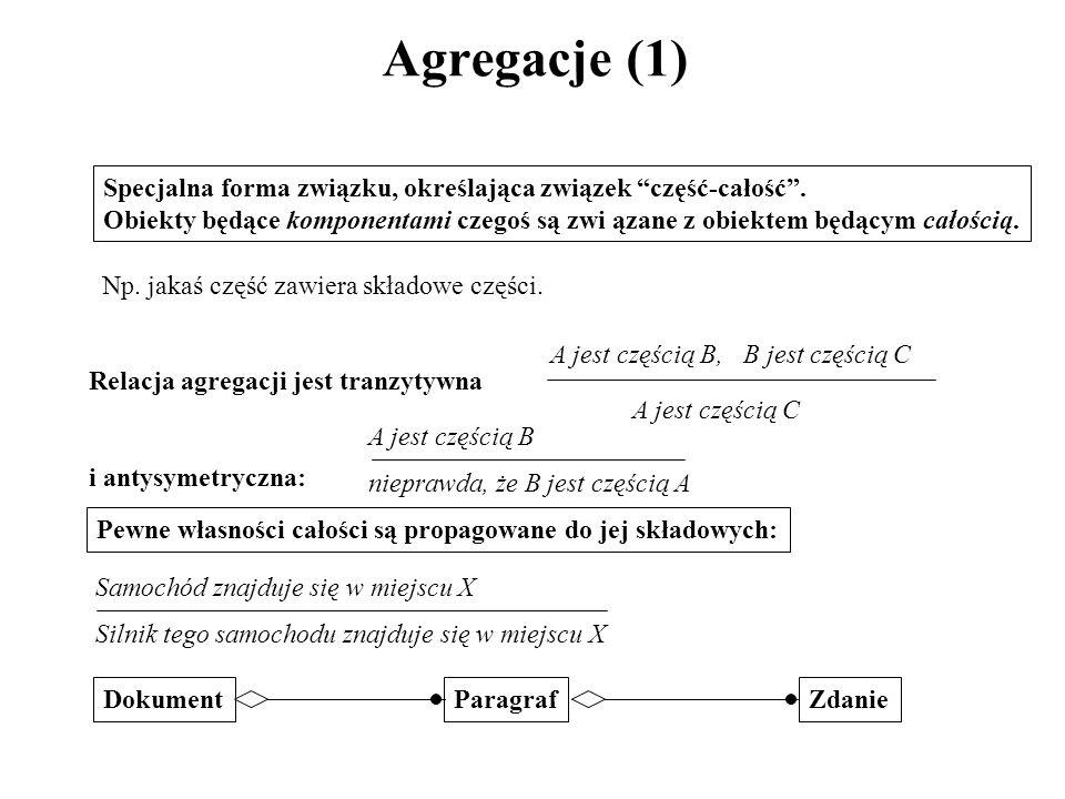 Agregacje (1) Specjalna forma związku, określająca związek część-całość .