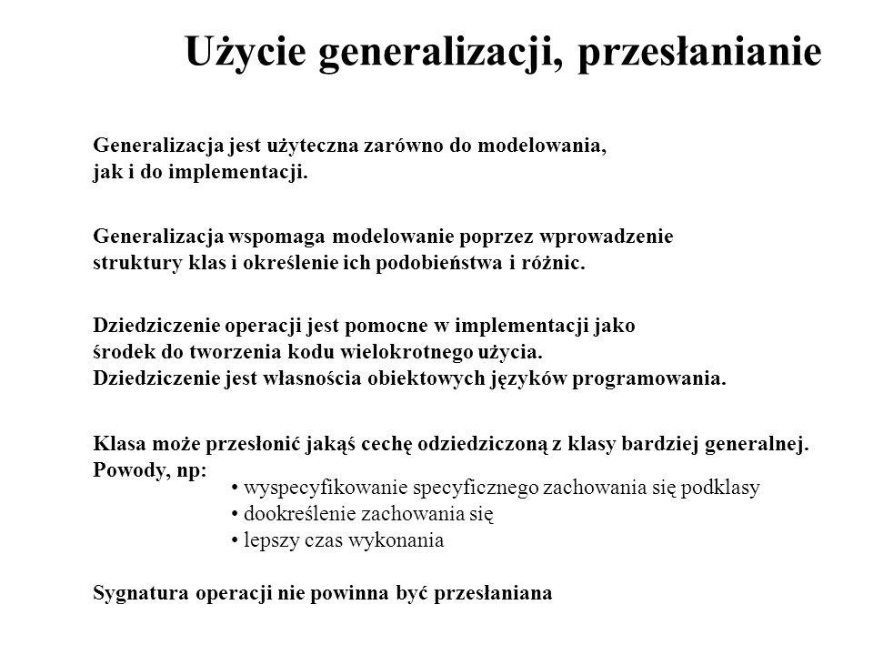 Użycie generalizacji, przesłanianie