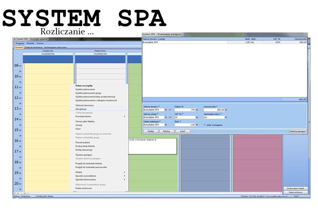 SYSTEM SPA System SPA Rozliczanie … 13