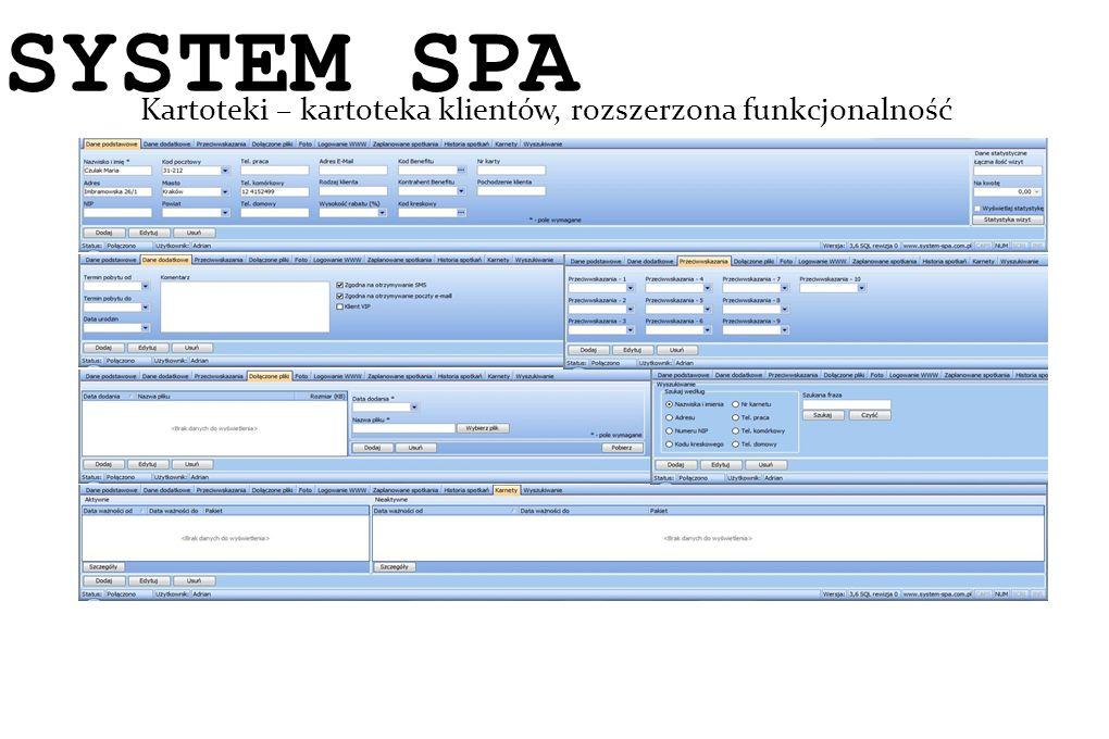 SYSTEM SPA Kartoteki – kartoteka klientów, rozszerzona funkcjonalność