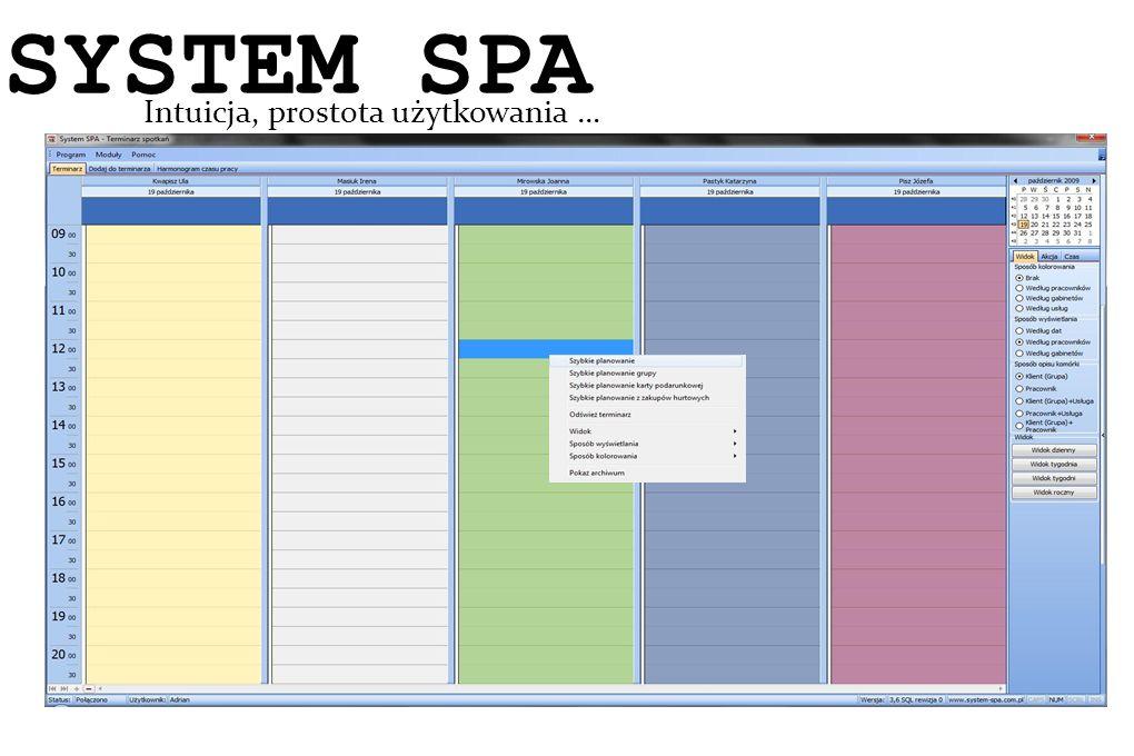 SYSTEM SPA System SPA Intuicja, prostota użytkowania …