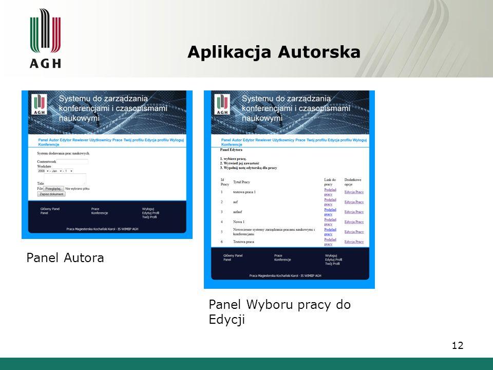 Aplikacja Autorska Panel Autora Panel Wyboru pracy do Edycji