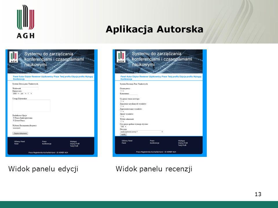 Aplikacja Autorska Widok panelu edycji Widok panelu recenzji