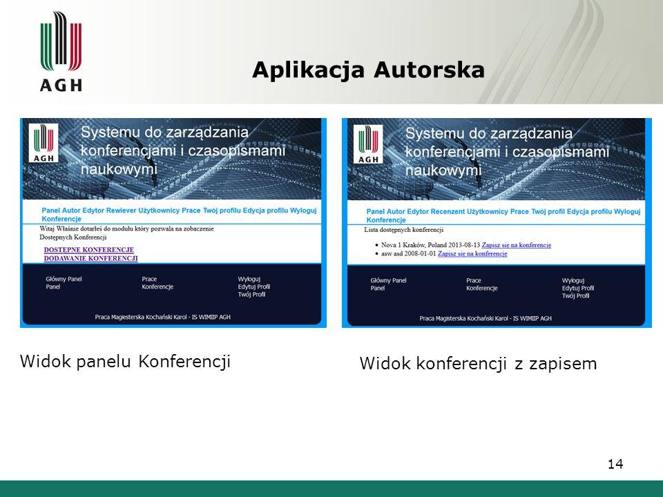 Aplikacja Autorska Widok panelu Konferencji