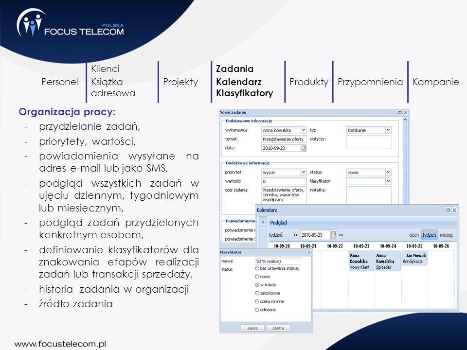 powiadomienia wysyłane na adres e-mail lub jako SMS,