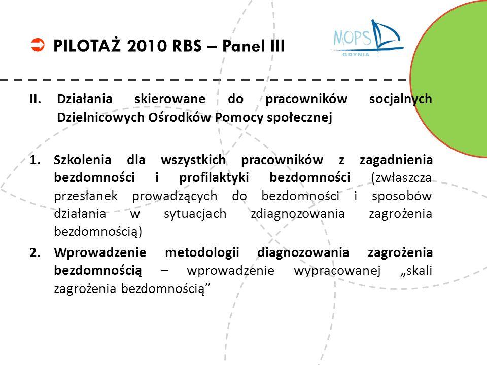 PILOTAŻ 2010 RBS – Panel III Działania skierowane do pracowników socjalnych Dzielnicowych Ośrodków Pomocy społecznej.